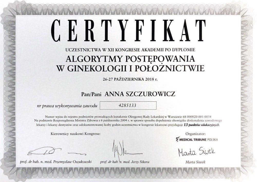 certyfikat-anna-szczurowicz-algorytmy-w-ginekologii