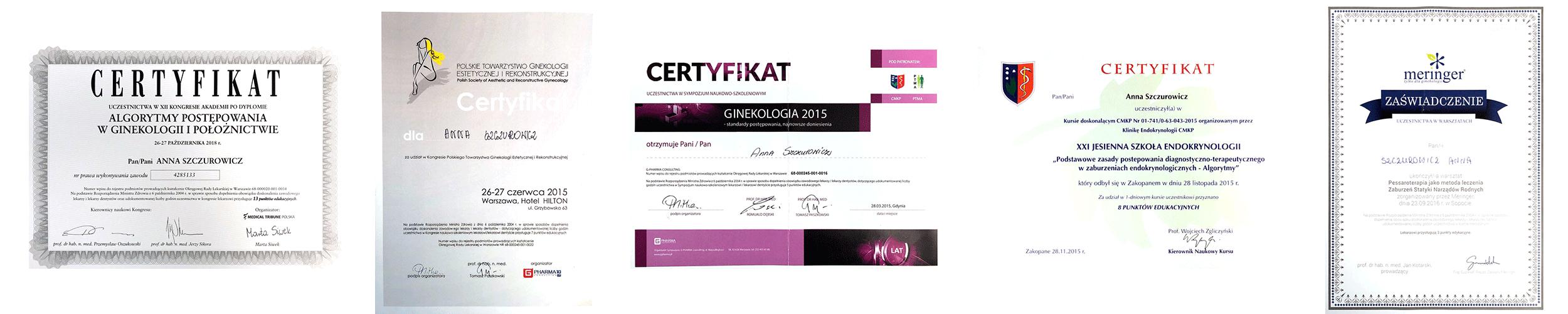 certyfikaty-anna-szczurowicz-ginekolog-poloznik-gdansk-wrzeszcz